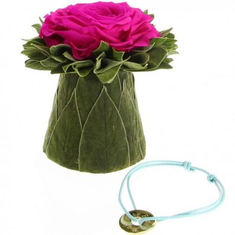 """Rose stabilisée & Bracelet """"Super maîtresse"""""""
