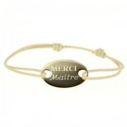 Bracelet gourmette Merci Maître Plaqué or