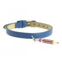 Bracelet cuir crayon argent