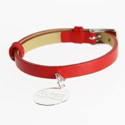 """Bracelet cuir médaille """"Super Maîtresse"""""""
